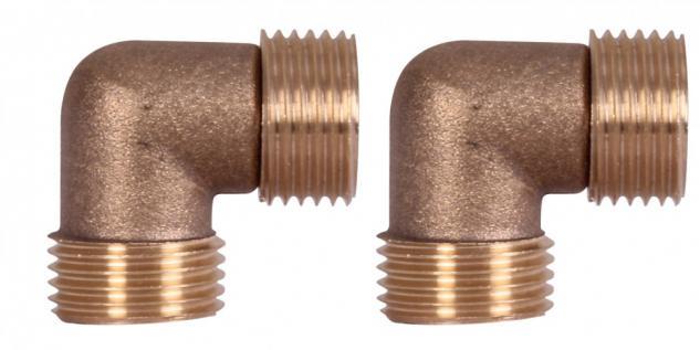 Wohling 2er Set Adapter 1/2 Zoll Wasseranschluss Schlauchanschlusswinkel Duschsäule Duschpaneel 90° Winkel