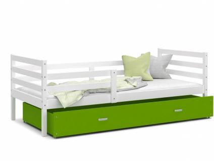 Kinderbett mit Bettkasten Weiß Grün Rico 80x160