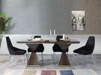 Esszimmer Tisch Ruiz mit 4er Set Stühlen in Walnuss