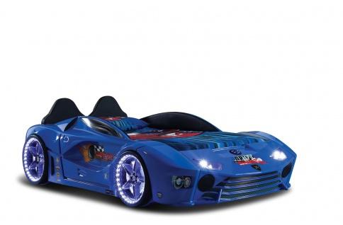 Autobett mit Bluetooth in Blau Drift mit LED USB und Sound