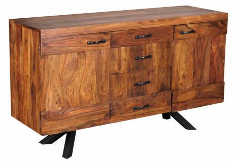 Sheesham Massivholz Sideboard 145 x 45 x 82cm, Kommode, 2 Türen und 4 Schubladen