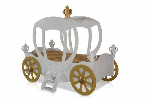 Kinderbett Prinzessin Kutsche in Weiß mit Matratze