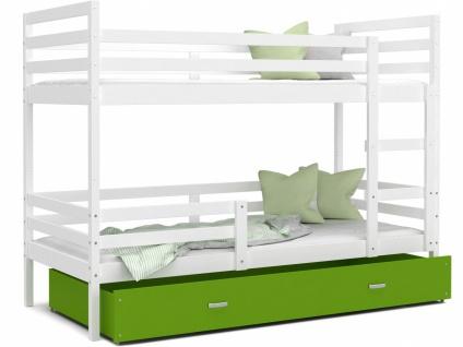Etagenbett mit Bettkasten Weiß Grün Rico 90x200