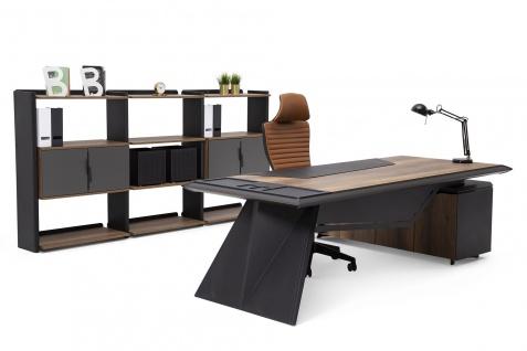 Ovali Schreibtisch Set 3-teilig Elit Schwarz Links