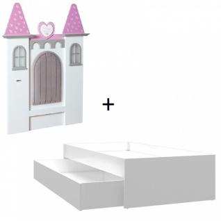 Almila Kinderbett Castle mit Ausziehbett mit LEDs 90x200