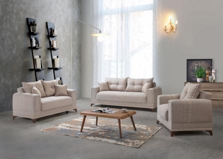 Couch Sofa Garnitur mit Stauraum Beige Okyanus 3+2+1