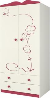 Kleiderschrank 2-türig Sakura Creme mit Blütendekor