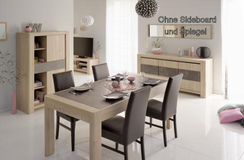 Parisot Chris Esstisch Set in Eiche Steinoptik 5-teilig