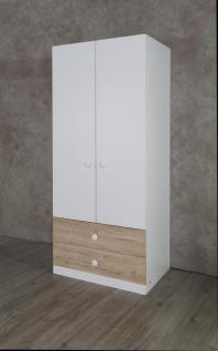 Kleiderschrank in Weiß und Holzoptik Puzzle 2-türig