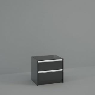 Nachtkommode Schwarz Braun Borry mit Glastop
