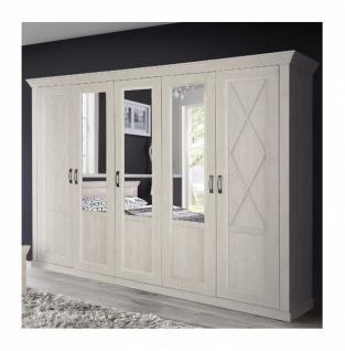 Kleiderschrank in Weiß Jakob 5-türig mit Spiegeltüren
