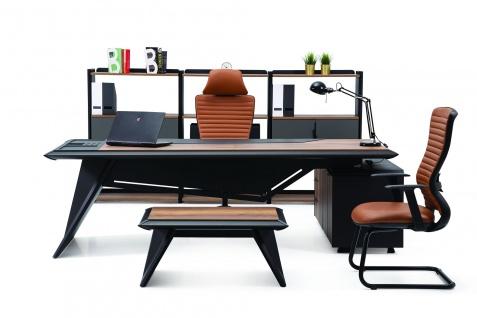 Ovali Büromöbel komplett 4-teilig Elit Schwarz Rechts