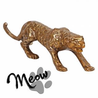 Design Deko Figur Panther 60 cm aus Aluminium Farbe Gold
