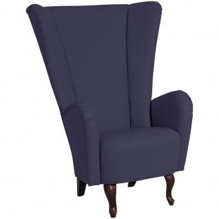 Moderner Design Sessel in Dunkelblau Iduna Kunstleder