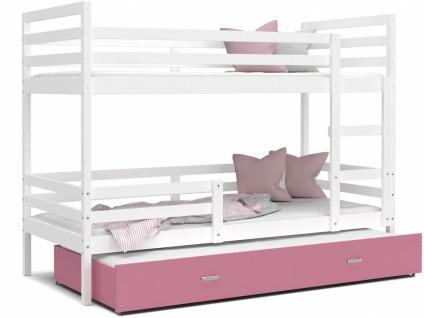 Etagenbett mit Gästebett Weiß Rosa Rico 80x190