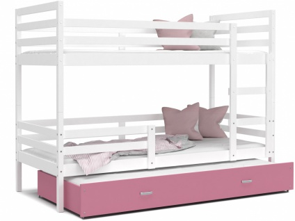 Etagenbett mit Gästebett Weiß Rosa Rico 90x200