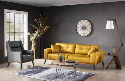 Wohnzimmer Sofa Set Karaca mit Schlafsofa Senfgelb