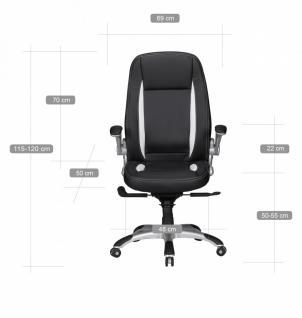 Chefsessel Belgrad Leder Optik schwarz Streifen weiß mit Armlehnen klappbar - Vorschau 2