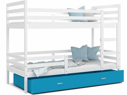 Etagenbett mit Bettkasten Weiß Blau Rico 90x200