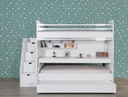 Titi Etagenbett mit drei Liegeflächen Puzzle 6-teilig Weiß