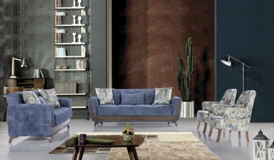 Sofa Set mit Schlaffunktion Blau gemustert Saray 3+2+1