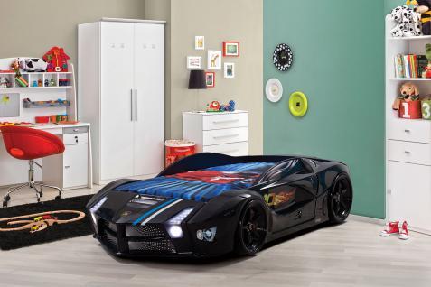 Autobett in Schwarz Basic mit LED Scheinwerfern und Sound