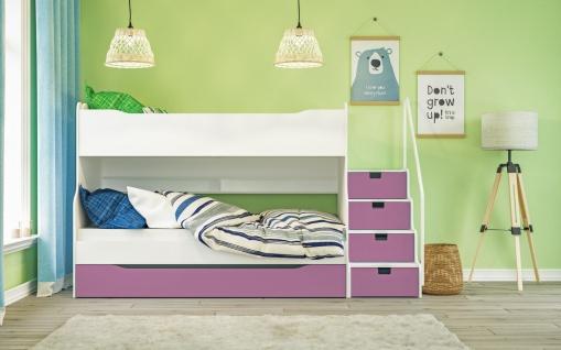 Etagenbett Max 4 mit Schubkastentreppe in Weiß Pink