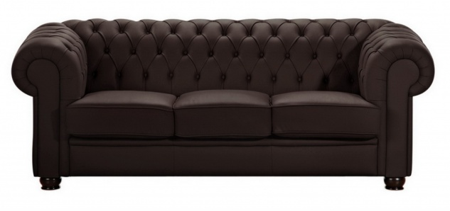 Sofa 3-Sitz Chandler Kunstleder, braun