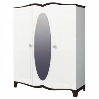 Kleiderschrank Weiß Wenge Tiffany 3-türig mit Spiegel