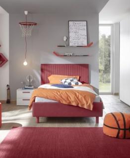 Design Polsterbett gestreift Space Rot 90x200