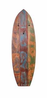 Surfboard Garderobenpaneel Melodin aus buntem Altholz