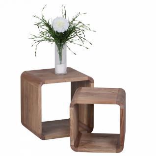 Massivholz Akazie Satztisch Beistelltisch 2er Set Cubes Würfelregal