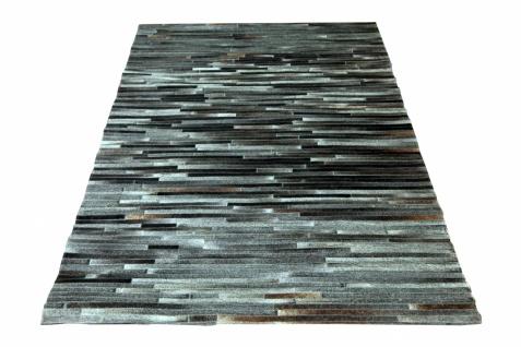 Kuhfell Teppich Minor auf Leder Grau 170x240