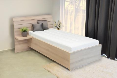 Schwebendes Bett Rielle 120x200 Akazie Kopfteil links