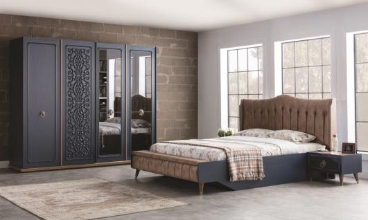 Schlafzimmer komplett mit Stauraumbett Boston Blue