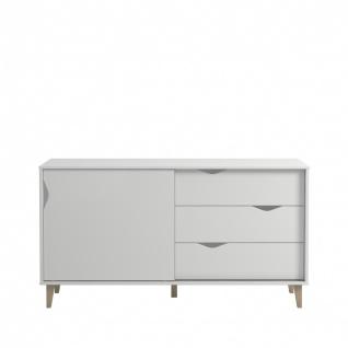 Design Sideboard Weiß Sandi mit Schiebetüre
