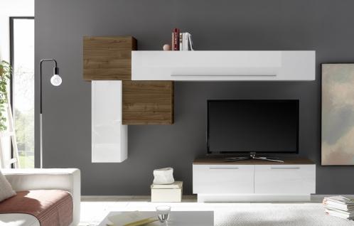 Wohnwand Set Veldig 6-teilig in Weiß Nussbaum Optik