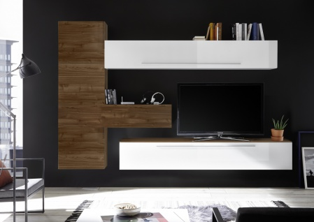 Wohnzimmerwand in Weiß Nussbaum Optik dunkel Veldig