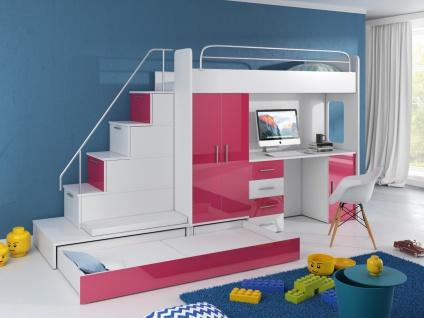 Hochbett mit Treppe Beluzi mit Gästebett in Pink