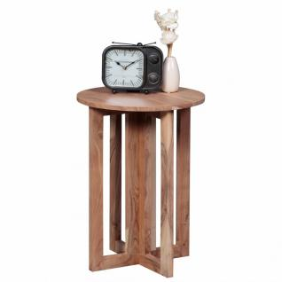 WOHNLING Beistelltisch Massivholz Akazie Design Anstell-Tisch 45 x 45 cm rund Nachttisch Deko Echt-Holz Landhaus-Stil