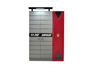 Titi Kinderkleiderschrank 3-türig Cat Garage in Grau/Rot