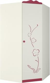 Eckkleiderschrank Sakura 1-türig Creme mit Blütendekor