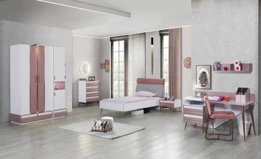 Mädchenzimmer Set Rosi aus 6 Teilen Weiß-Rosa