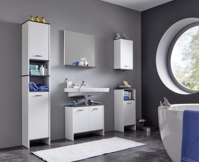 Badezimmer Set Biagio 5-teilig in Weiß/Rauchsilber