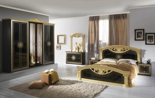 Schlafzimmer Schwarz Romina mit 4-türigem Schrank