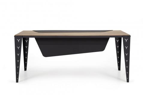 Ovali Schreibtisch 4-beinig Mustang Schwarz 200x90x75