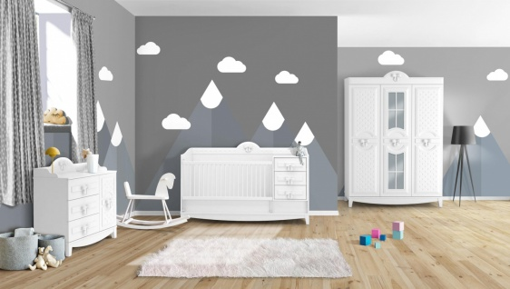 Babyzimmer Komplett Set In Weiss Spotty 3 Teilig Kaufen Bei Mobel Lux