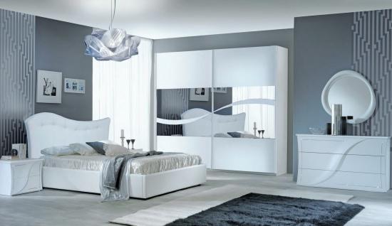 Schlafzimmer Set Mabel 160x190 Hochglanz in Weiß