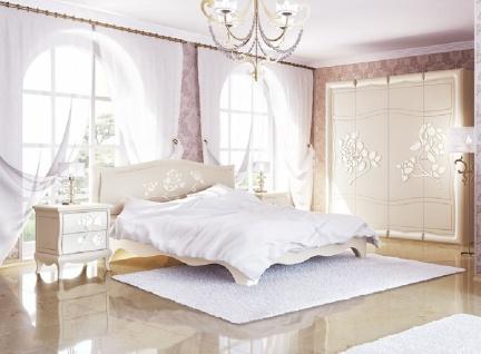 Barock Schlafzimmer 4-teilig Astoria Creme mit 3D Blumen