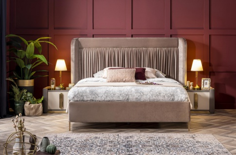 Weltew Design Bett Florya 160x200 cm in Creme